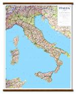 mappa murale Italia - mappa murale plastificata e telata con aste in legno - 72 x 92 cm