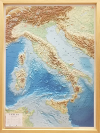mappa Italia in rilievo (plastico) con elegante cornice legno 70 x 90 cm