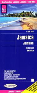 mappa Jamaica / Giamaica con Portmore, Kingston, Bull Bay, Mandeville, Montego Savanna La Mar, Ocho Rios impermeabile e antistrappo 2018