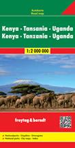 mappa stradale Kenya, Tanzania, Uganda - mappa stradale - con luoghi panoramici, spiagge, parchi e riserve naturali - edizione 2016