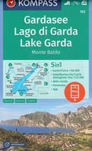 mappa n.102 Lago di Garda, Monte Baldo, Riva del Salò, Desenzano Sirmione, d'Idro, Caprino Veronese, Ledro con informazioni turistiche, sentieri CAI, percorsi panoramici e parchi naturali plastificata, compatibile GPS + panoramica 2020