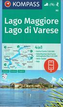 mappa n.90 Lago Maggiore, di Varese, Lugano, Verbania, Stresa, Arona, Gravellona Toce, Laveno Mombello, Luino, Cannobio, Locarno, Mendrisio, Parco Nazionale Val Grande, Malesco, Olgiate Comasco compatibile con GPS 2020