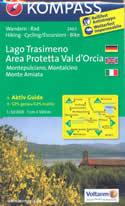 mappa n.2463 Lago Trasimeno, Val d'Orcia, Montepulciano, Montalcino, Monte Amiata, Asciano, Cortona, Sinalunga, Chianciano Terme, Chiusi con informazioni turistiche, sentieri CAI, percorsi panoramici e parchi naturali plastificata, compatibile GPS