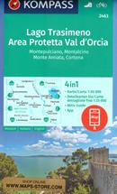 mappa n.2463 Lago Trasimeno, Val d'Orcia, Montepulciano, Montalcino, Monte Amiata, Asciano, Cortona, Sinalunga, Chianciano Terme, Chiusi con informazioni turistiche, sentieri CAI, percorsi panoramici e parchi naturali plastificata, compatibile GPS 2022
