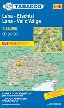 mappa n.046 Lana, Val d'Adige Merano, Marlengo, Cermes, Verano, Guardia Alta, S. Pancrazio, Foiana, Vilpiano, Nalles, Terlano, Andriano, Passo Palade, M. Luco, Felice, Bolzano con reticolo UTM compatibile sistemi GPS 2020