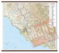 mappa murale Lazio - mappa murale plastificata con eleganti aste in legno, scrivibile e lavabile - cartografia dettagliata ed aggiornata - 96 x 86 cm