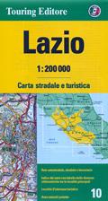 mappa Lazio stradale con distanze stradali, percorsi panoramici 2015