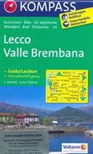 mappa topografica n.105 - Lecco, Valle Brembana, Oggiono, Zogno, Brumano, Morbegno, Varenna, Tartano, Lago di Como, San Pellegrino Terme, Sondrio - con informazioni turistiche, sentieri CAI, percorsi panoramici e parchi naturali - mappa plastificata, compatibile con GPS - edizione 2017