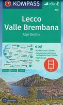mappa n.105 Lecco, Valle Brembana, Oggiono, Zogno, Brumano, Morbegno, Varenna, Tartano, Lago di Como, San Pellegrino Terme, Sondrio con informazioni turistiche, sentieri CAI, percorsi panoramici e parchi naturali plastificata, compatibile GPS 2020