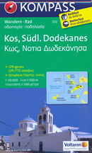 mappa n.252 Kos, Leros, Kalimnos, Nisiros, Astipalea (Dodecaneso, isole Grecia) escursionistica, con spiagge, percorsi per il trekking, luoghi panoramici e parchi naturali compatibile GPS 2017