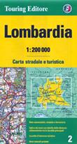 mappa Lombardia stradale con distanze stradali, percorsi panoramici, parchi e riserve naturali