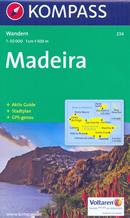 mappa n.234 Madeira con Funchal, Santa Cruz, Ribeira Brava, Calheta, Porto Moniz, Santana, Machico, Santo, Ilhas Desertas escursionistica, spiagge, percorsi per il trekking, luoghi panoramici e parchi naturali compatibile GPS 2016