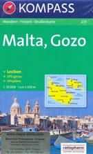 mappa n.235 Malta, Gozo, Valletta, Comino, Rabat, Mosta, Sliema con informazioni turistiche, sentieri, spiagge e luoghi panoramici compatibile GPS