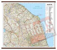 mappa Marche murale con cartografia dettagliata ed aggiornata plastificata, eleganti aste in legno 72 x 63 cm 2021