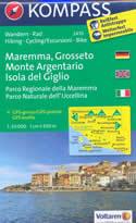 mappa n.2470 Maremma, Grosseto, Monte Argentario, Isola del Giglio, Parco Regionale Naturale dell'Uccellina, Scansano, Capalbio, Orbetello plastificata, compatibile con sistemi GPS