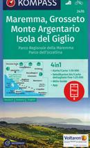 mappa n.2470 Maremma, Grosseto, Monte Argentario, Isola del Giglio, Parco Regionale Naturale dell'Uccellina, Scansano, Capalbio, Orbetello plastificata, compatibile con sistemi GPS 2020