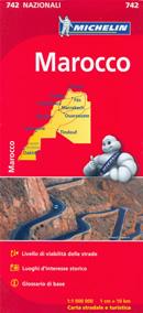 mappa n.742 Marocco con Rabat, Casablanca, Marrakech, Tanger, Fes, Ouarzazate, Agadir, Laâyoune, Sahara Occidentale, Dakhla stradale luoghi panoramici e d'interesse storico, informazioni sul clima, distanze stradali, strade secondarie piste 2014