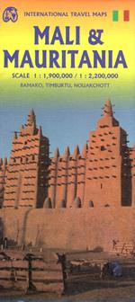 mappa Mauritania con Noaukchott, Nouadhibou, Rosso/Rusu, Kaedi, Zouérat, Kiffa, Atar, Sélibabi, Néma, Tijikja, Aleg, Ayoun el Atrouss, Akjoujt, Sahara orientale Dagana, Saint Louis, Dakar (Senegal)