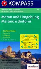 mappa n.53 Merano, Gruppo di Tessa / Texelgruppe, Moso in Passiria, Passo Giovo, S. Leonardo, Lana, Meltina, Naturno, Ultimo, Proves, Terlano, Bolzano con panoramica compatibile GPS