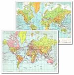 mappa scolastica Il Mondo - planisfero da tavolo, fisico-politico, plastificato 29 x 37 cm - edizione 2013