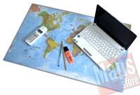 mappa Mappa del Mondo (Planisfero) da Tavolo - Tappetino Mouse/Sottomano in gomma flessibile, dim. 67 x 43 cm - lavabile, antiscivolo, impermeabile - nuova edizione