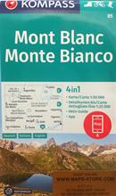 mappa n.85 Monte Bianco, Aosta, Grand Combin, Liddes, Chamonix Mont Blanc, La Thuile, Valpelline, Salle, Morgex, Les Chapieux, Saint Gervais Bains, Argentière plastificata, compatibile con GPS 2018