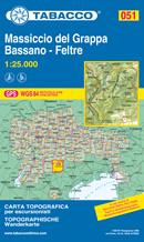 mappa topografica n.051 - Monte Grappa, Bassano, Feltre, Valstagna, Possagno, Pederobba, Alano di Piave, Primolano - con reticolo UTM compatibile con GPS - nuova edizione