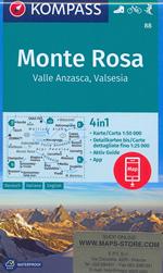 mappa n.88 Monte Rosa, Alagna Valsesia, Gressoney, Zermatt, Ceppo Morelli, Macugnaga, Scopello, Riva Valdobbia con informazioni turistiche, sentieri CAI e parchi naturali