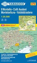 mappa n.070 Il Montello, Colli Asolani, Montebelluna, Valdobbiadene M. Cesen, Miane, Quero, S. Pietro di Feletto, Pieve Soligo, Alano Piave, Pederobba, Possagno, Paderno, Asolo, Fonte, Cornuda, Maser, Caerano, Crocetto Vidor, Moriago, Susegana, Nervesa d. Battaglia, Volpago Montello compatibile con GPS 2018
