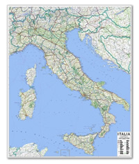 mappa Murale d'Italia cartografia aggiornata e molto dettagliata con limiti di rete stradale 100 x 130 cm 2018