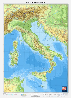 mappa Murale d'Italia Fisica 70 x 100 cm 2017