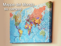 mappa Murale del Mondo su Canvas planisfero con design moderno e cartografia di alta qualità 100 x 80 cm