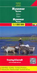 mappa stradale Myanmar / Burma / Birmania - con Naypyidaw, Yangon/Rangoon, Mandalay, Bagan, Pegu, Moulmein, Sagaing, Tavoy/Dawei, Pathein, Taunggyi