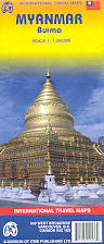 mappa stradale Myanmar / Burma / Birmania - con Yangon (Rangoon) e Mandalay
