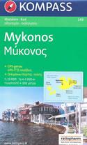 mappa n.249 Mykonos, Delos, Rinia, Tragonisi (isole Grecia) escursionistica, con spiagge, percorsi per il trekking, luoghi panoramici e parchi naturali compatibile GPS