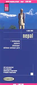mappa Nepal con Kathmandu, Pokhara, Bhaktapur, Chitwan National Park impermeabile e antistrappo