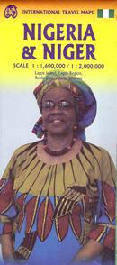 mappa stradale Nigeria e Niger - con Lagos, Lagos Island, Benin City, Abuja, Niamey - nuova edizione