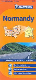 mappa n. 513 Normandia / Normandie Normandy con Rouen, Caen, Dieppe, Le Havre, Lisieux, Evreux, Argentan, Alençon, Bayeux, Saint Lô, Avranches, Cherbourg Octeville stradale stazioni di servizio e autovelox 2014