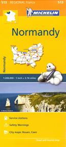 mappa n. 513 Normandia / Normandie Normandy con Rouen, Caen, Dieppe, Le Havre, Lisieux, Evreux, Argentan, Alençon, Bayeux, Saint Lô, Avranches, Cherbourg Octeville stradale stazioni di servizio e autovelox
