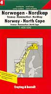 mappa stradale N. 4 - Norvegia Regione Caponord - Tromso, Hammerfest, North Cape