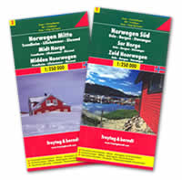 mappa Norvegia 2 mappe stradali con Oslo, Bergen, Stavanger, Trondheim, Lillehammer, Alesund