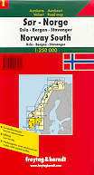mappa stradale N. 1 - Norvegia Sud - Oslo, Bergen, Stavanger, Kristiansand