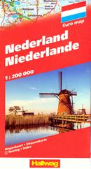 mappa Olanda e Paesi Bassi/Nederland/Netherlands con Amsterdam, Rotterdam, Eindhoven, Utrecht, Groningen, Den Haag/L'Aia 2019