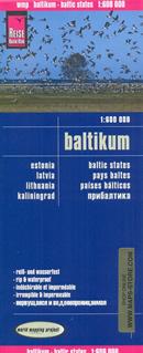 mappa Paesi Baltici (Estonia, Lettonia, Lituania) con Riga, Vilnius, Tallinn impermeabile e antistrappo