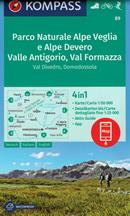 mappa n.89 Parco Naturale Alpe Veglia, Devero, Valle Antigorio, Val Formazza, Divedro, Domodossola, M. Leone, Gondo, Varzo, Trontano, S. Maria Maggiore, Pizzo Nona, Baceno, Binn, Fiesch plastificata, compatibile con GPS 2020