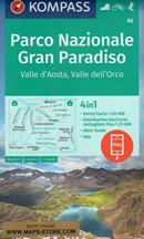 mappa n.86 Parco Nazionale del Gran Paradiso, Valle d' Aosta, dell'Orco, Val di Rhêmes, Valgrisenche, Valsavarenche, d'Isère, Ceresole Reale, Ronco Canavese, Locana, Valprato Soana, Punta Tersiva plastificata, compatibile con GPS 2022