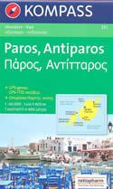 mappa n.251 Paros, Antiparos, Dhespotiko, Strogilo (isole Grecia) escursionistica, con spiagge, percorsi per il trekking, luoghi panoramici e parchi naturali compatibile GPS