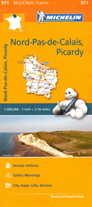 mappa n. 511 Passo di Calais, Picardia / Pas de Picardie/Picardy con Lille, Amiens, Laon, Beauvais, Arras, Peronne, Château Thierry, Senlis, Compiegne, Abbeville, St Omer, Boulogne sur Mer, Cambrai, Quentin, Douai, Lens, Bethune stradale stazioni servizio e autovelox
