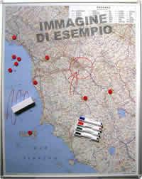 mappa Piemonte e Valle d'Aosta Magnetica su pannello in Metallo (scrivibile o per l'applicazione di calamite) + Kit Lavagna