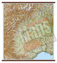 mappa Piemonte, Valle d'Aosta murale con eleganti aste in legno, scrivibile e lavabile cartografia dettagliata ed aggiornata 86 x 108 cm